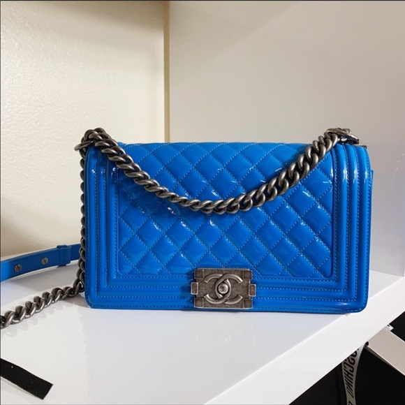 CHANEL Handbags - Chanel old medium Electric Blue Patent Leather